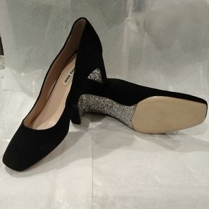 Miu Miu black suede pumps with subtle bling. 6.5